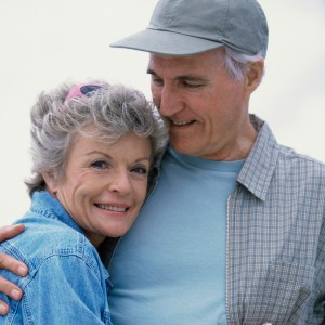 Portrait of a senior couple holding each other